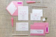 WEDDING INVITATION - Pink Confetti Wedding Invite. via Jessica Bishop Paperie on Etsy.
