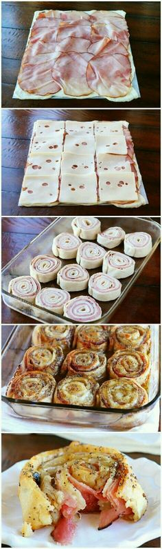 These Hot Ham & Cheese Party Rolls are so good!They are seriously so good! Diese Hot Ham & Cheese Party Rolls sind so gut! Sie sind ernsthaft so gut! Appetizers For Party, Appetizer Recipes, Christmas Appetizers, Sandwich Recipes, Pinwheel Appetizers, Cheese Appetizers, Christmas Recipes, Breakfast Appetizers, Cheese Snacks