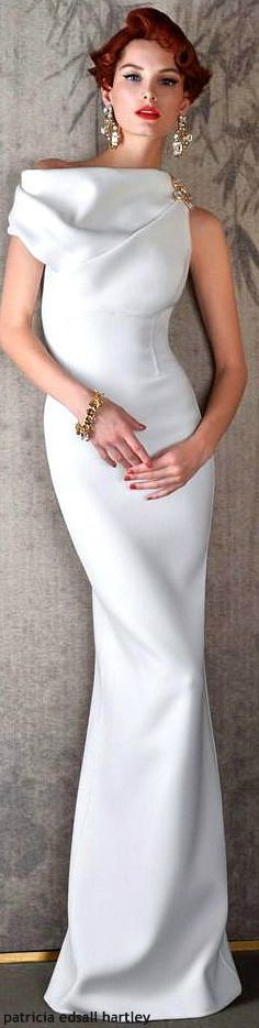 Asymmetrical white ball gown
