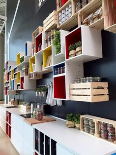 I like the thought of using on the wall to hold mason jars. Ikea Kitchen, Kitchen Interior, Kitchen Design, Small Space Living, Living Spaces, Ikea Hacks, Ikea Eket, Guest Room Office, Ikea Storage