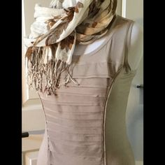FREE add-on FREE WITH PURCHASE of any other medium top from my closet. This top is sleeveless and has a tailored ruffle detail on the front;  the back is solid. Scarf pictured for display only. Alfani Tops