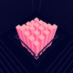 cînk on DELIRIUM LAB / monument loop gif pink violet perspective 3d ae delay waves krikrak lines cube