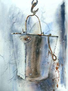 le seau gris  aquarelle Anne Larose Watercolour Tutorials, Watercolor Techniques, Watercolor And Ink, Watercolor Paintings, Watercolors, Book Page Art, Amazing Paintings, Art Courses, Still Life Art