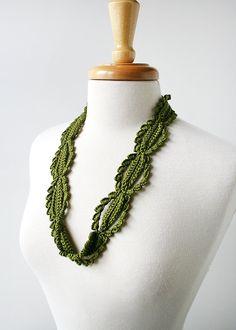 Fiber Art Jewelry - Silk Crochet Lace Necklace by Elena Rosenberg
