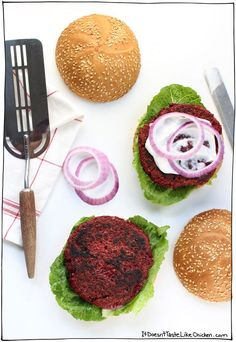 Vegan Beet Burgers! Quick and easy recipe for a hearty veggie burger with a perfect bite (not mushy). Egg-free, dairy-free, vegetarian. #itdoesnttastelikechicken
