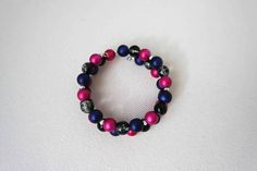 Pink/Black/Blue Bracelet Multicolor Bracelet Beaded