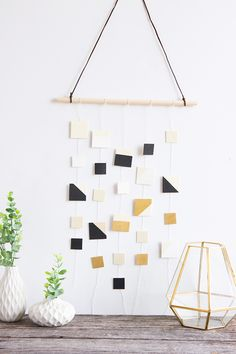 Simple Wood Square Wall Hanging #DIY #wallhanging