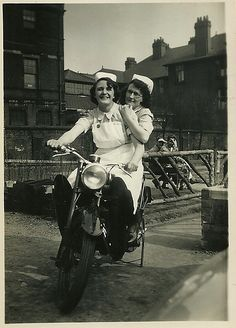 Nurses on a motorcycle. And WHERE's their helmets?? Rebels!