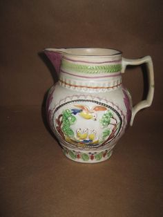 Antique Prattware Pearlware Pitcher With Pink Lustre Great Condition in Antiques, Decorative Arts, Ceramics & Porcelain | eBay