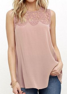 Lace Pactchwork Pink Round Neck Tank Top | modlily.com