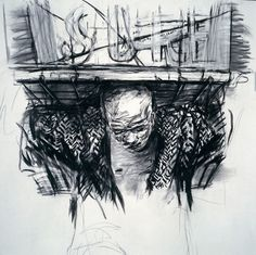 William Kentridge, Drawing for the film Monument [Harry – Close-Up of Head and Load], 1990; Charcoal on paper; 59 x 47 1/4 in. (150 x 120 cm); Collection of the artist; © 2008 William Kentridge; photo: John Hodgkiss, courtesy the William Kentridge Studio