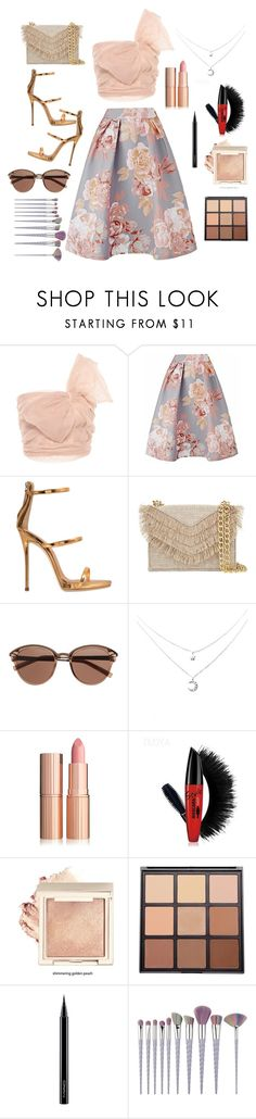 """""""A shimmer of Gold"""" by narniachild on Polyvore featuring RED Valentino, Giuseppe Zanotti, Cynthia Rowley, Witchery, Morphe and MAC Cosmetics"""