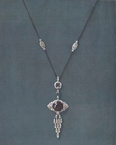 """f8b94e4d9060 Claudine Seroussi Bretagne on Instagram  """"Lacloche necklace dating from  1923. A large brilliant-cut sapphire mounted in a diamond-set flexible  pendant"""