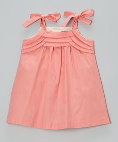 Love this Les Petits Soleils by Fantaisie Kids Coral Tie-Strap Dress - Toddler & Girls by Les Petits Soleils by Fantaisie Kids on #zulily! #zulilyfinds