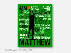 Basketball Typography Art Print, Perfect Sporty Boy's Room Art, You Choose the Colors, Makes a Great Gift for any Basketball Lover in green, black and white