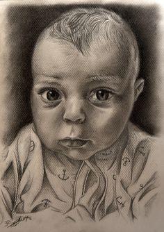 """Baby portrait/Retrato de un bebé"" (2013) Traditional illustration HB pencils, charcoal B, HB, H, 2B, black and grey pencils, chalk Pastel Paper A4 (21 X 29,7 cm)"
