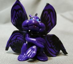 Butterfly Dragon Purple polymer clay DW by JackTheDragon on Etsy