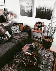 My 500 Sq Ft Studio Apartment Tour! Boho Living Room, Home And Living, Small Living, Modern Living, Gothic Living Rooms, Manly Living Room, Gothic Room, Living Room Plants, Bohemian Room