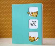 Adorable:  SSS tri-squares die; Furry Cat and Box stamp set, Circle Friends stamp set
