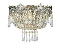 Crystorama 1480-HB-CL-MWP 2-Lights Sold Cast Brass Ornate Crystal Wall Sconce - Historic Brass