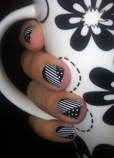 Striped nails are a hot trend and they are fashionable and chic. Check out these 122 beautiful striped nails ideas. I want to try Read more: 122 Beautiful Striped Nails Ideas image credit:. Polka Dot Nails, Striped Nails, White Nails, Black Nail, Polka Dots, Sexy Nails, Love Nails, Fabulous Nails, Gorgeous Nails
