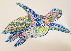 Peinture de Tortue marine à l'acrylique. #tortue #turttle #mandala #animal #fantastique #fantastic #peinture #art #artist #paint #painting #colors #animaux #animals #ocean