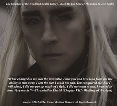 Quote from Book II: The Saga of Thranduil (Chapter VIII: Wedding of the Ages). He is speaking to his wife after the ceremony.