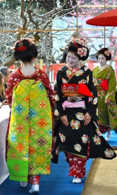Geisha Apprentices pass each other with a smile and a bow (by crossfire_dave) Japanese Kimono, Japanese Art, Geisha Japan, Kyoto Japan, Memoirs Of A Geisha, Japanese Beauty, Yukata, Portrait Photo, Japanese Culture