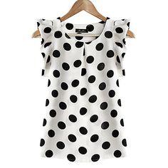 Cotton Blouses New 2017 Summer Women Kawaii Polka Dot Printing Short Sleeve Shirt Tops Plus Size Blusas Shirts Haut Femme Blouse Chiffon Shirt, Chiffon Tops, Chiffon Blouses, White Chiffon, Print Chiffon, White Silk, Cotton Blouses, Short Sleeve Blouse, Shirt Sleeves