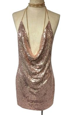 d822796f4cf Birthday Suit Metallic Sequin Cowl Neck Side Split Spaghetti Strap Cut Out  Choker Neck Chain Mini Dress - Inspired by Kendall Jenner - Gold