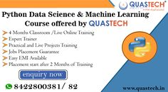 Python Data Science & Machine Learning Course Offered by QUASTECH ||Enquiry Now || 📞8422800381 / 82 📍Thane / Borivali Machine Learning Course, Course Offering, Software Testing, Training Courses, Data Science, Python, Digital Marketing, Web Design, Classroom