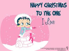 Happy Christmas to the one I Love MORE Betty Boop Graphics & Greetings http://bettybooppicturesarchive.blogspot.com/  ~And on Facebook~ https://www.facebook.com/bettybooppictures Betty Boop posing on an igloo