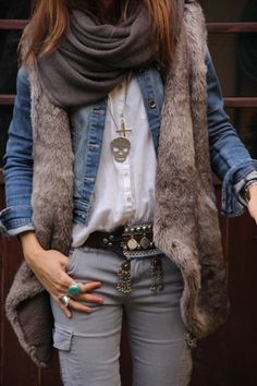 mytenida:ethnic belt and fur vest-51420-mytenida