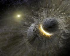 Simulação da colisão entre dois planetas. É possível que a formação da Lua veio de uma colisão semelhante da Terra com um outro planeta.