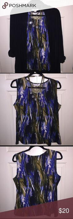 Jones Studio Sleeveless Top. Brush like print in multiple colors, royal blue, black, brown and hints of white and cream. 96% Polyester and 6% Elastane. Soft fabric. Versatile top you can dress it up or down for a more casual look. Jones Studio Separates Tops Blouses