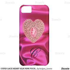 CUPID LACE HEART SILK PINK FUCHSIA CLOTH MONOGRAM COVER FOR iPhone 5C