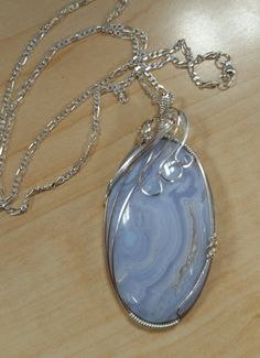 Blue lace agate,  sterling silver.