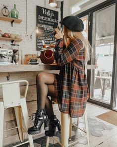 Plaid coat, cap, platform heeled boots