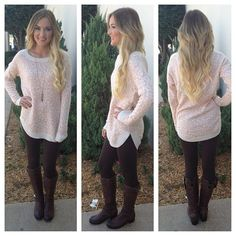 Love this cream & peach tunic length sweater.. Paired with leggings & Ugg boots!