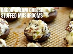 Bacon and Cream Cheese Stuffed Mushrooms are a must on any party menu! Loaded with creamy and smoky flavors, these delicious mushroom bites are seriously add. Cheese Stuffed Mushrooms, Stuffed Mushroom Caps, How To Make Bacon, Good Food, Yummy Food, Baked Chicken Wings, Looks Yummy, Yummy Appetizers, Brunch