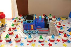 Thomas the Train Birthday Party   CatchMyParty.com Maybe for B.Seth's first birthday. A Christmas train theme with Thomas the Tank Engine. Yes It's 11 months away!!!LOL