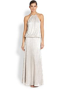 Laundry by Shelli Segal Pleated Foil Jersey Gown