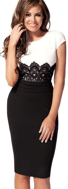 Ruimao Keyhole with Metal Buckle Bodycon Pencil Party Dress.