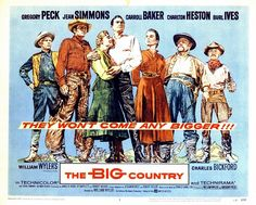 A fine revisionist western from 1958, a true all-star epic largely forgotten today directed by the dependable William Wyler with Gregory Peck, Jean Simmons, and Charlton Heston ( good in a rare supporting role). The BIGness of it expressed in great Super Technirama 70 cinematography. Burl Ives won and Oscar for his bad guy role. Worth a look for sure. This Is Us Movie, Movie Tv, Charles Bickford, Carroll Baker, Chuck Connors, William Wyler, Classic Movie Posters, Film Posters, Jean Simmons