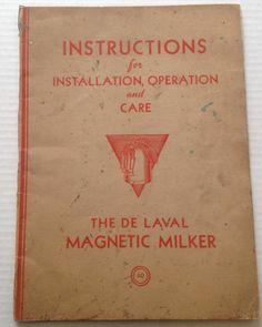 De Laval Magnetic Milker Manual Vintage 1939 Dairy Farm Brochure DeLaval