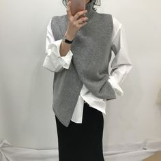 Korean Fashion Overlap Sleeveless Sweater Vest Sweaters Fashion 2018 Women Turtleneck Sweater Jumper Knitted Pullover Sweater – Ali Explorer - Women's style: Patterns of sustainability Ärmelloser Pullover, Pullover Sweaters, Vest Outfits For Women, Mode Cool, Vest Pattern, Fashion 2018, Fashion Women, Fashion Trends, Knit Vest