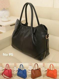 New women genuine leather handbag shoulder bag black blue brown satchel tote #TotesShoppers