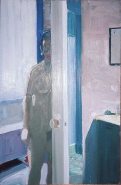 """""""Door with a Mirror"""", 1964, Paul Wonner, American (b. 1920), oil on canvas, 48 3/4 x 32 in."""