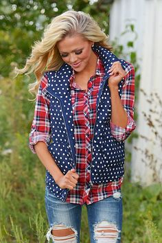 Endless Possibilities Polka Dot Puffer Vest - Navy from Closet Candy Boutique