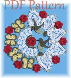 PDF Crochet Pattern- Hummingbirds and Roses Pineapple Doily